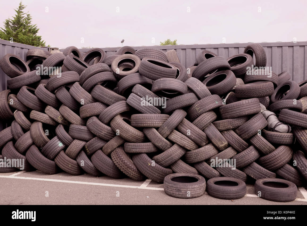 used vehicle tyres ready for recycling city of canterbury in kent county uk august 2017 - Stock Image