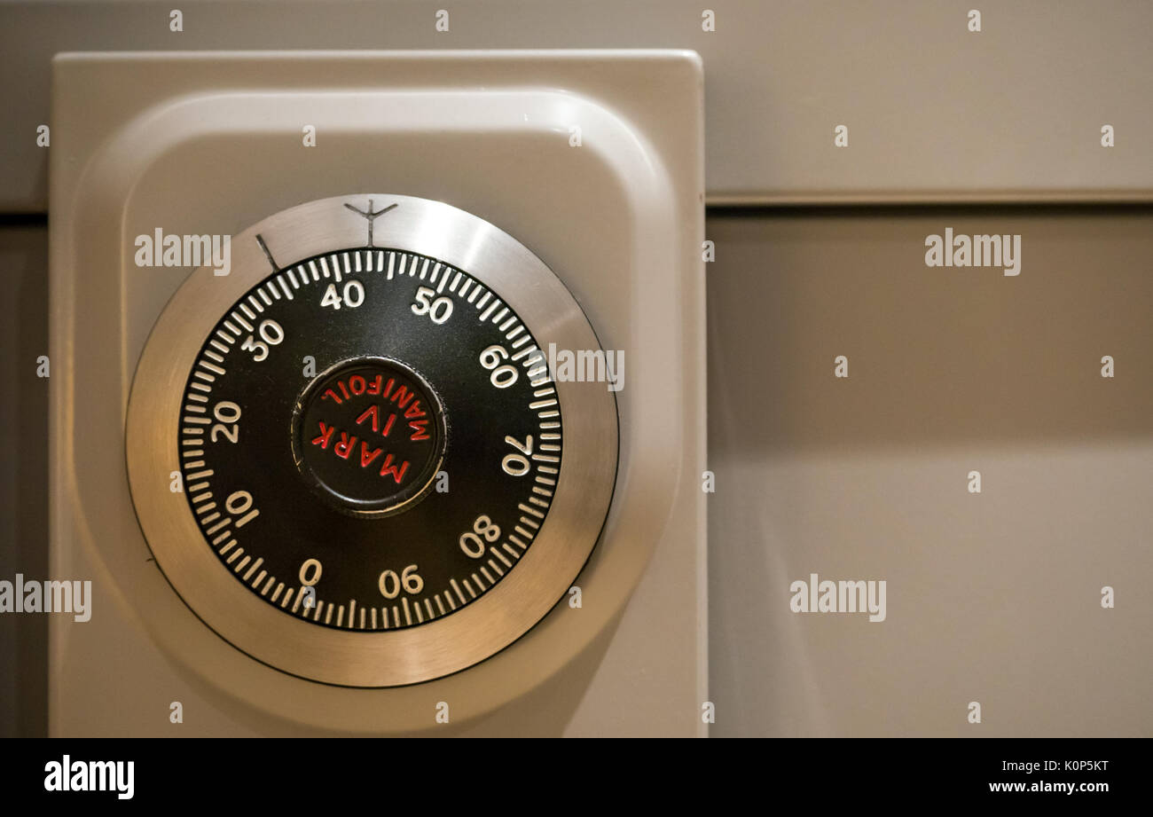 Close up of secure number dial combination lock on Chubb Mark IV Manifoil, a Military Grade Government filing cabinet - Stock Image