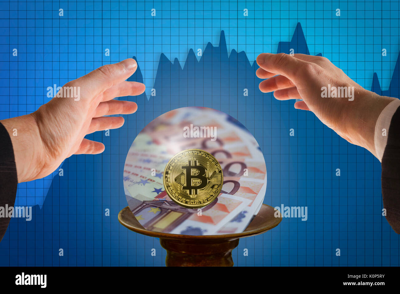 The concept of fortune teller businessman predicting future  of bitcoin with crystal ball - Stock Image