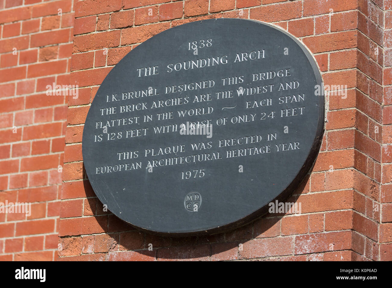 Maidenhead, UK. 18th July, 2017. A plaque indicating the sounding arch for Isambard Kingdom Brunel's historical bridge over the River Thames close to  - Stock Image