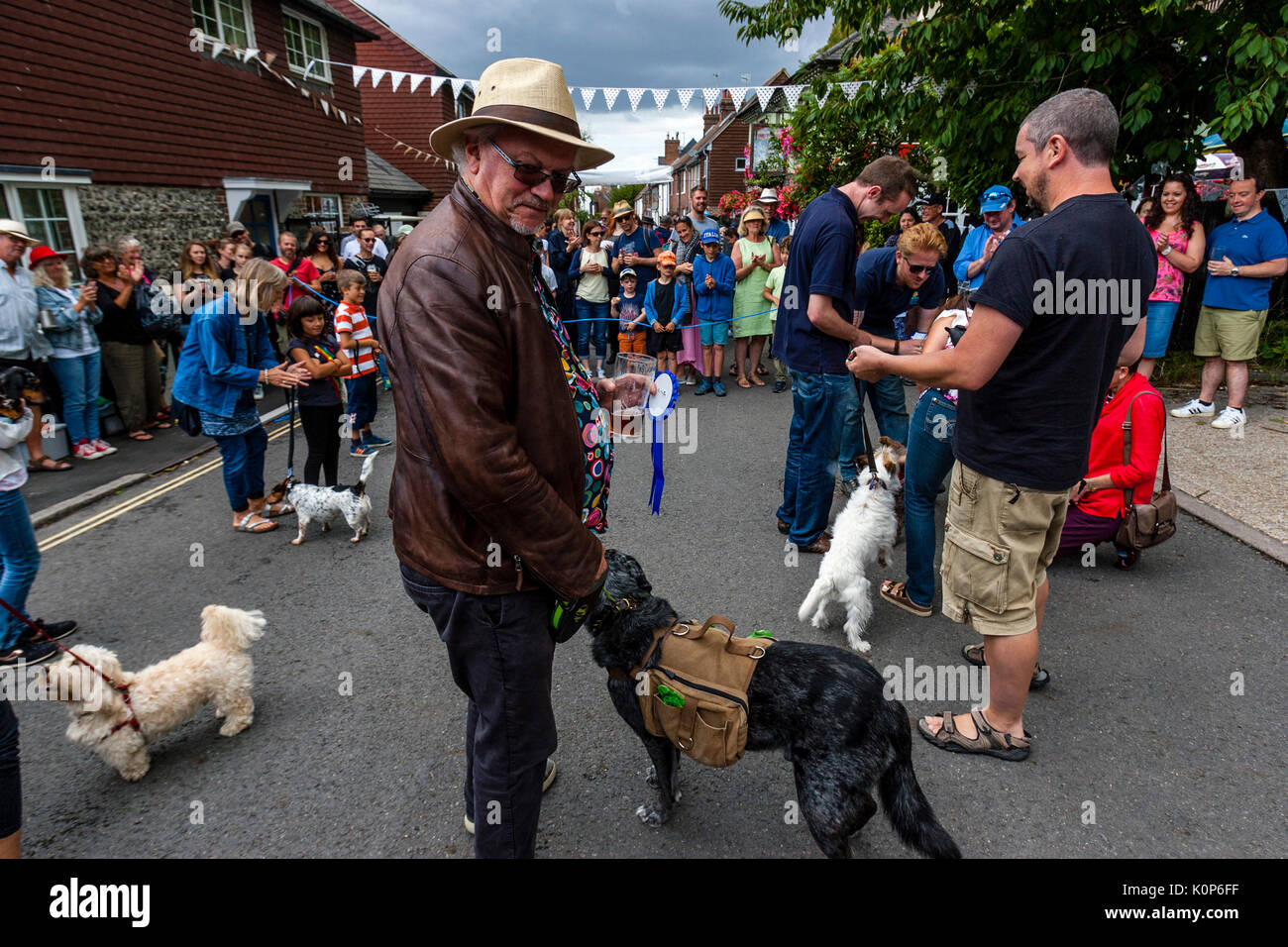 Dogs Being Judged At The Annual South Street Sports Day and Dog Show, Lewes, East Sussex, UK - Stock Image