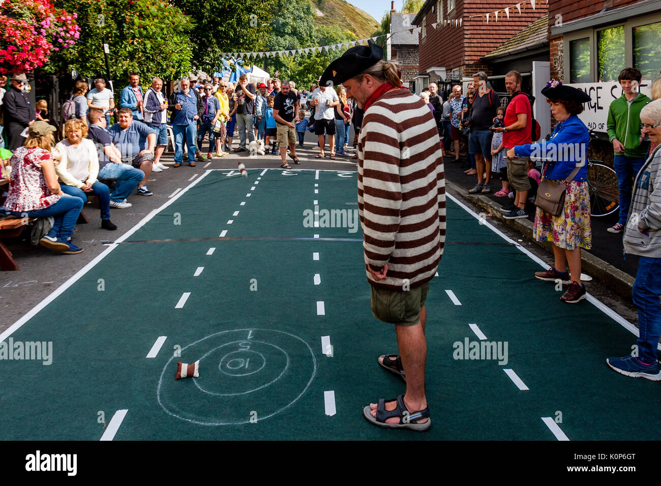 Local People Take Part In A 'Throwing The Bean Bag' Competition At The Annual South Street Sports Day and Dog Show, Lewes, East Sussex, UK - Stock Image