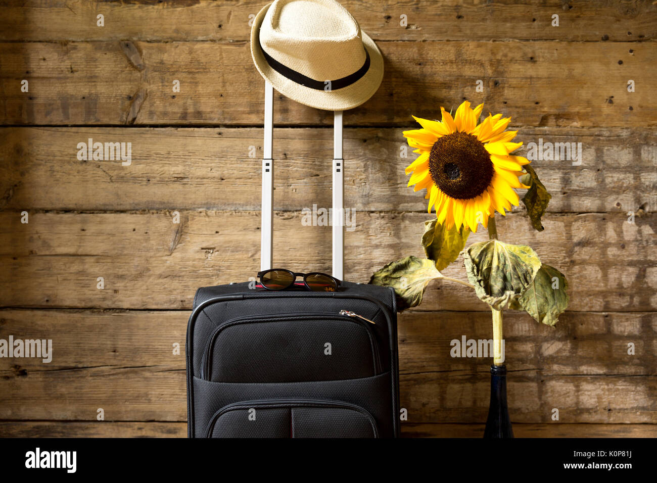 Suitcase Hipster Hat Sunflower And Sunglasses On Wooden Wall Background