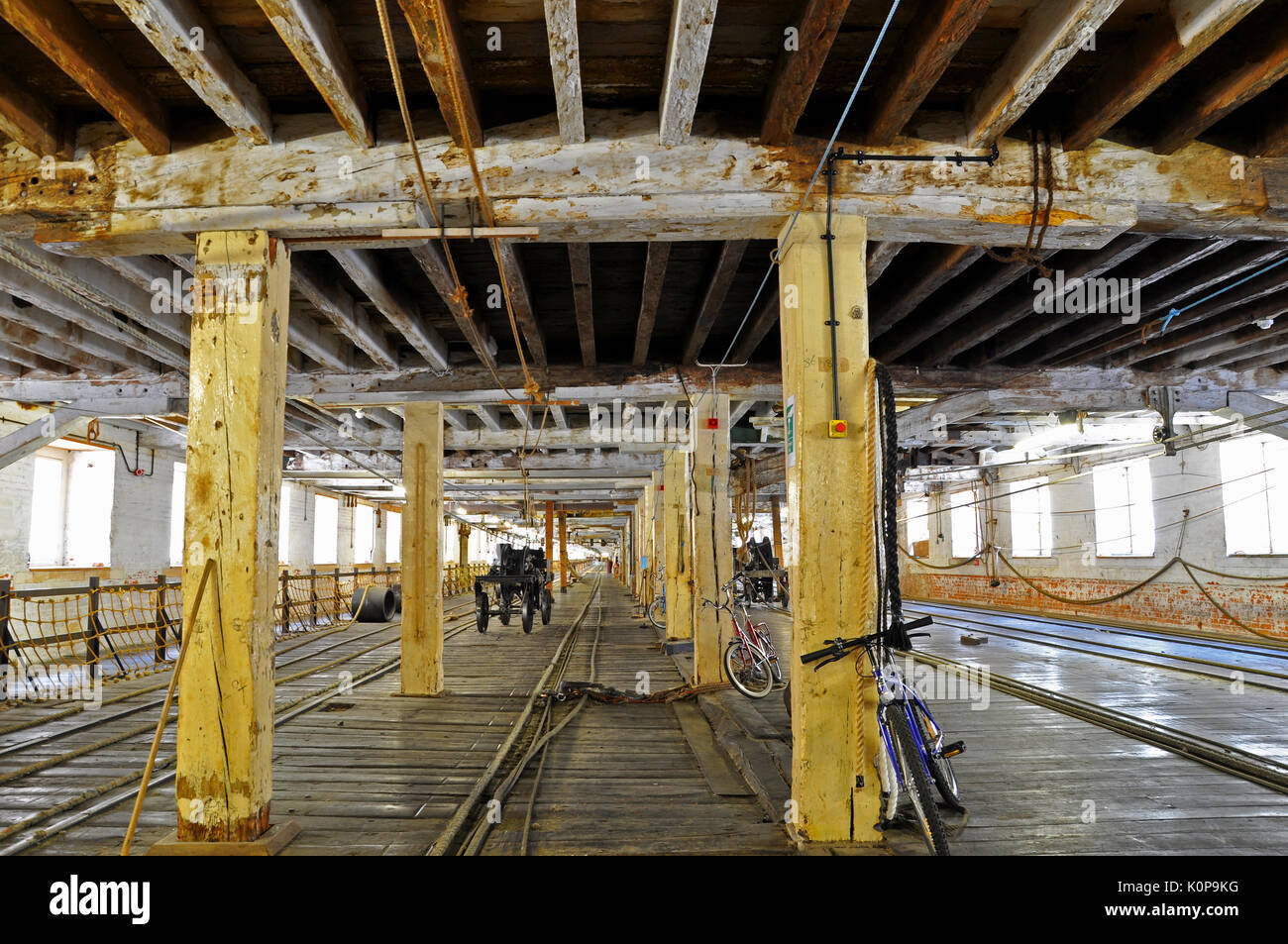 Interior of the Victorian Ropery Chatham Historic Dockyard, rope factory where rope was manufactured for maritime uses. Long wooden building - Stock Image