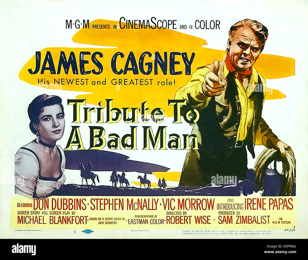 TRIBUTE TO A BAD MAN 1956 MGM Western film with James Cagney and Irene Papas - Stock Image