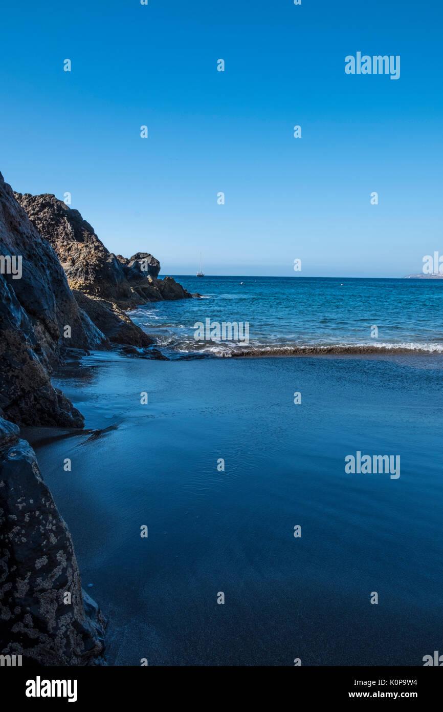 Prainha Black sand beach at Madeira Island - Stock Image