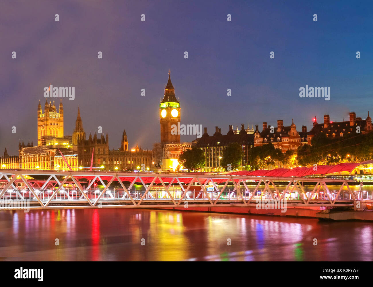 Big Ben and House of Parliament at night, London. - Stock Image