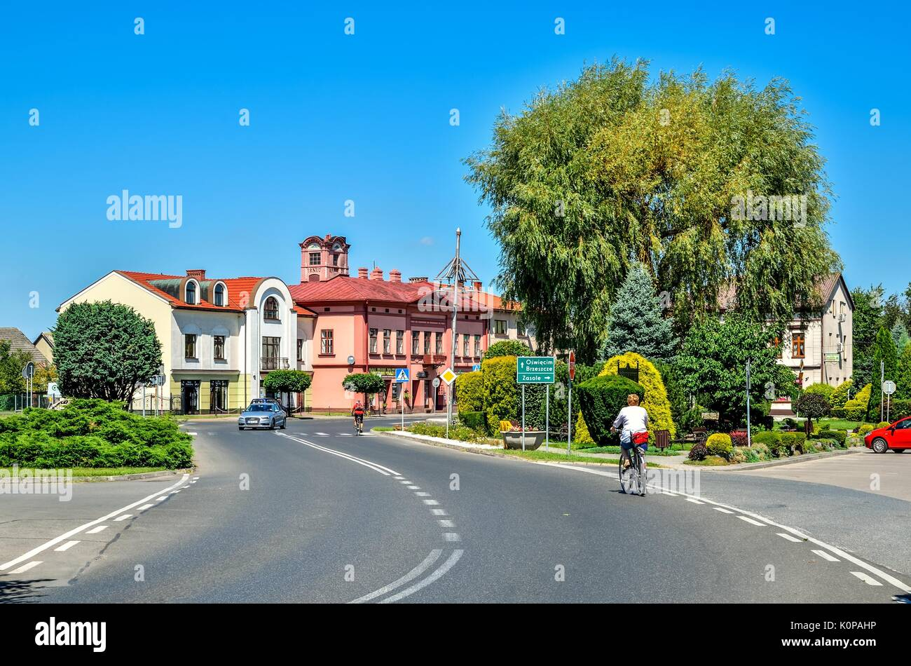 WILAMOWICE, POLAND - AUGUST 5, 2017: Market in the small beautiful town of Wilamowice in Lesser Poland. - Stock Image