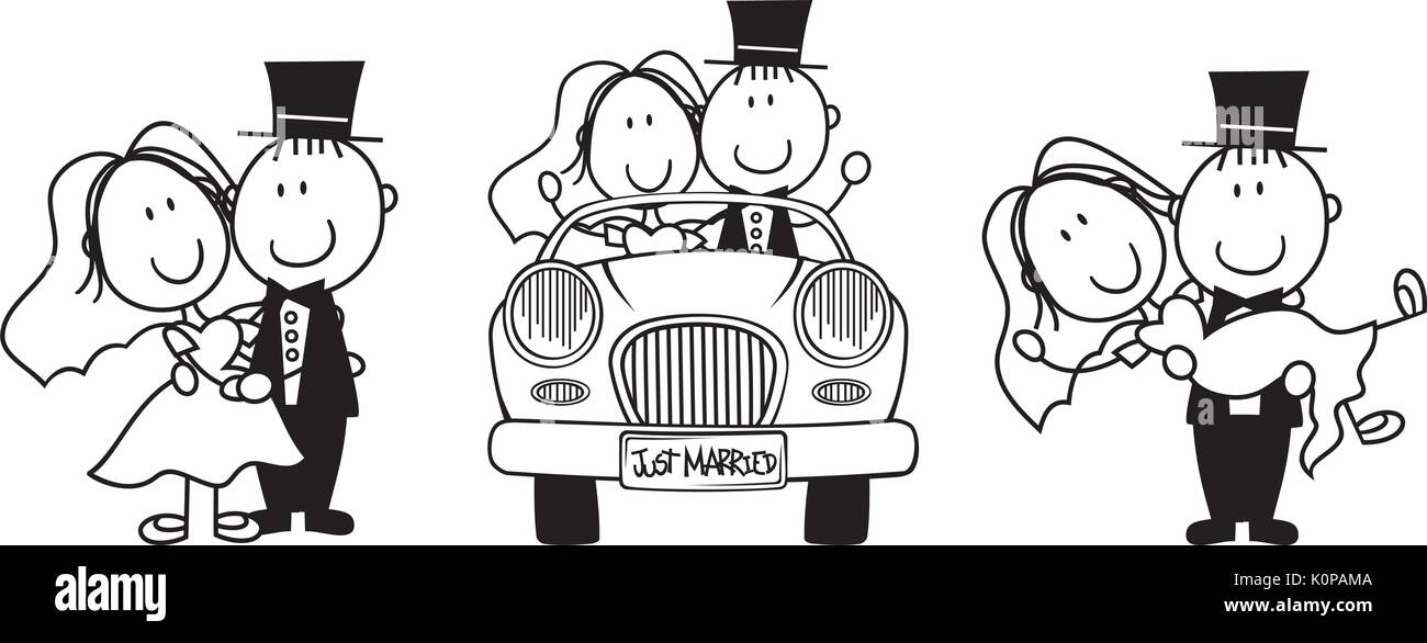Set Of Isolated Cartoon Couple Scenes Driving A Car Carrying The