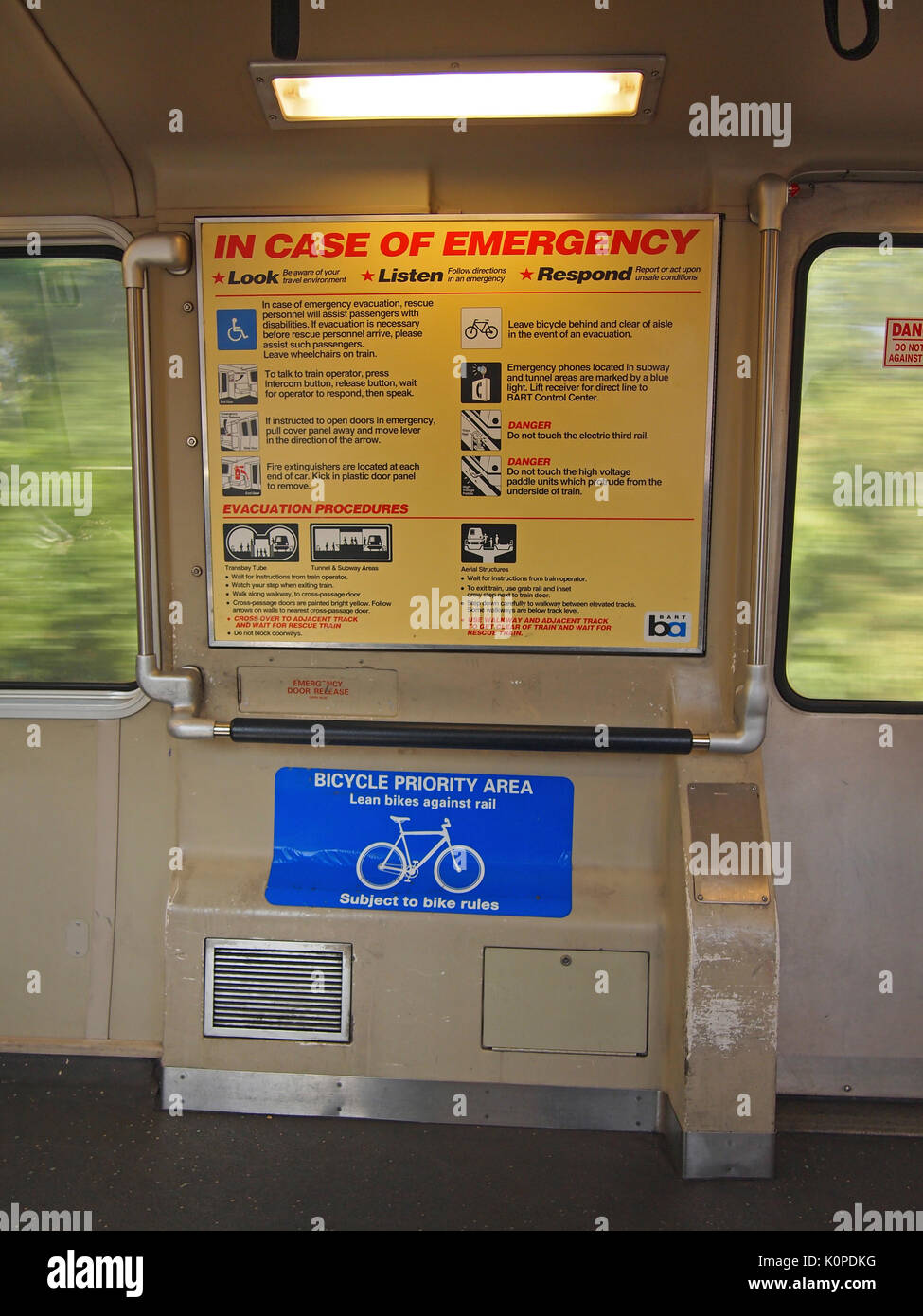 BART in car emergency instructions sign and bicycle area, CA, USA, - Stock Image