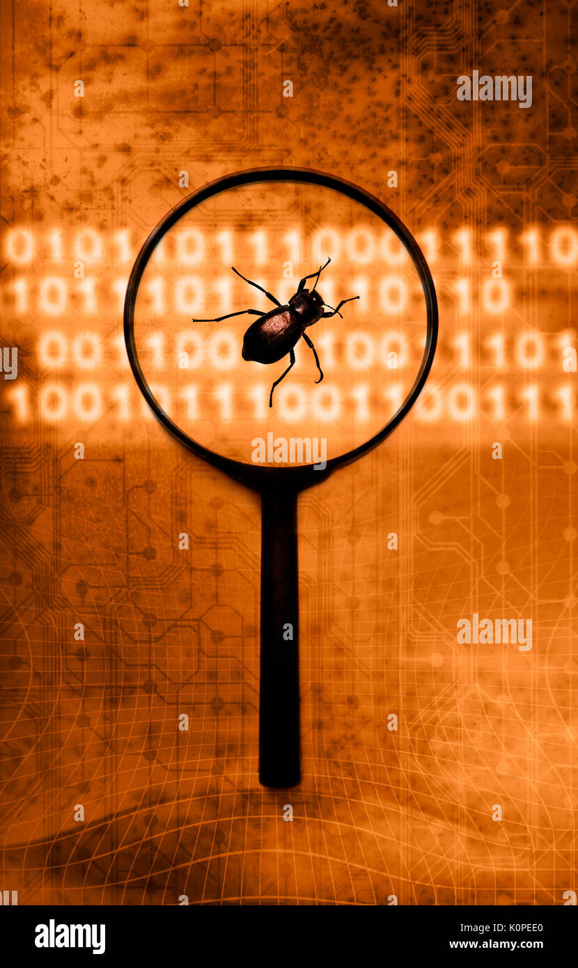 identifying computer bugs and virus concept - Stock Image