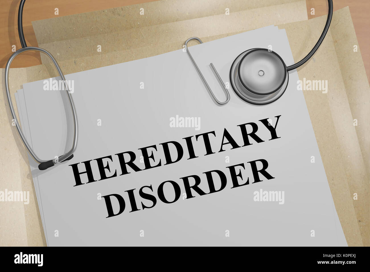 3D illustration of 'HEREDITARY DISORDER' title on a medical document - Stock Image