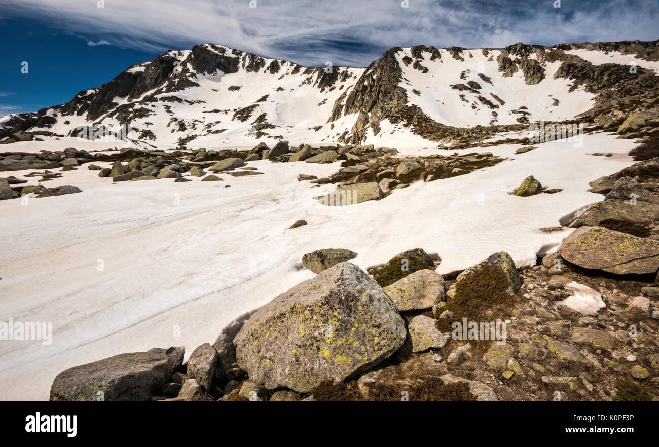 Monte Renoso summit over frozen Lac de Bastiani and snow field, in spring, GR 20 variant, Haute-Corse, Corsica, France - Stock Image