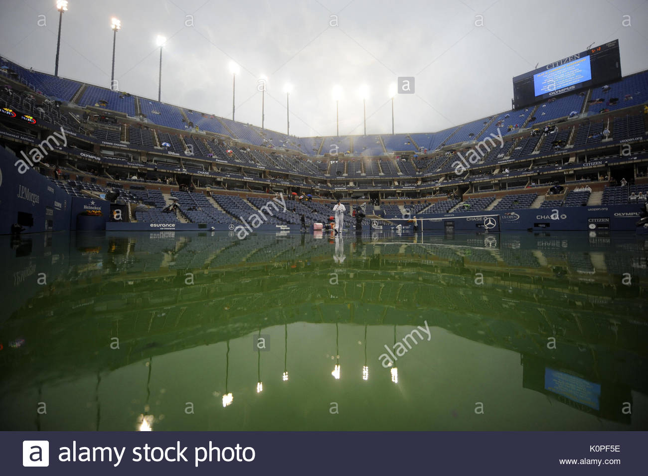 File photo dated 12-09-2010 of Rain delays the Men's Final between Serbia's Novak Djokovic and Spain's Rafael Nadal during day fourteen of the US Open - Stock Image