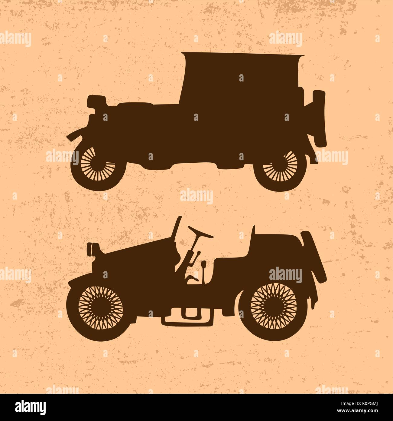 Silhouettes of vintage retro cars - Stock Vector