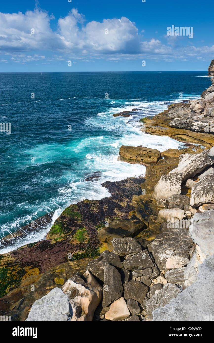 Rugged coastal scenery at Watsons Bay, Sydney, Australia. - Stock Image