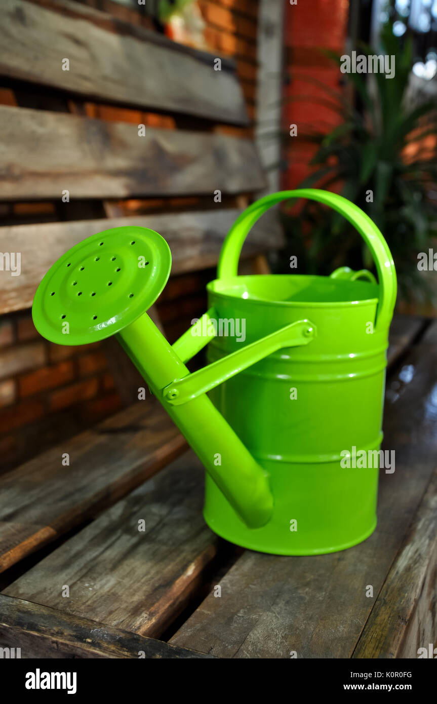 The flowers don't look happy. I'd like to water them, is there a watering can? - Stock Image