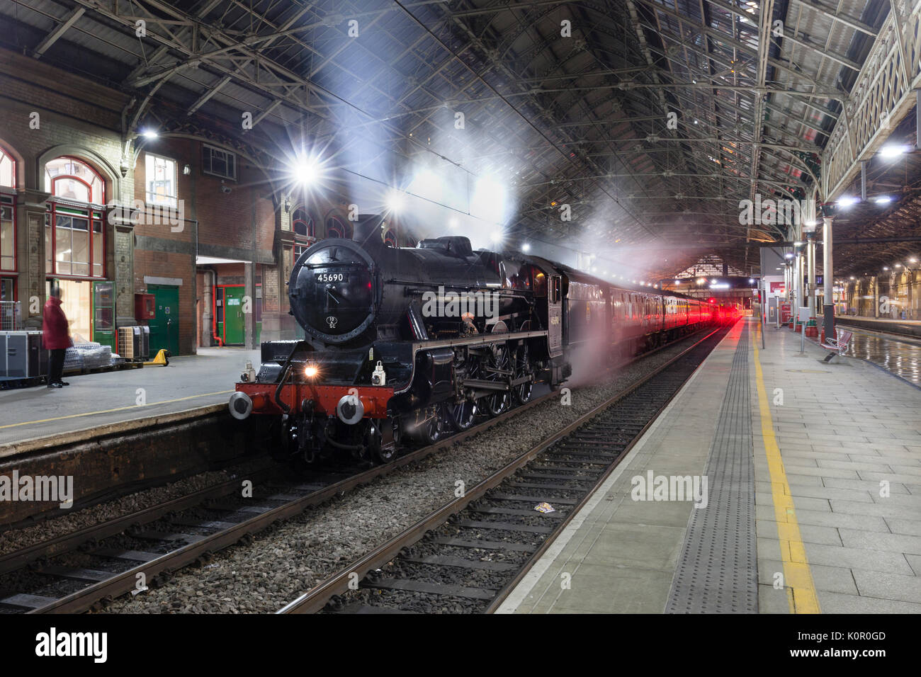 West Coast railways Steam locomotive  45690 Leander waits to depart from Preston with the  0625 Preston - Buxton 'Buxton Spa Express'	 charter train - Stock Image