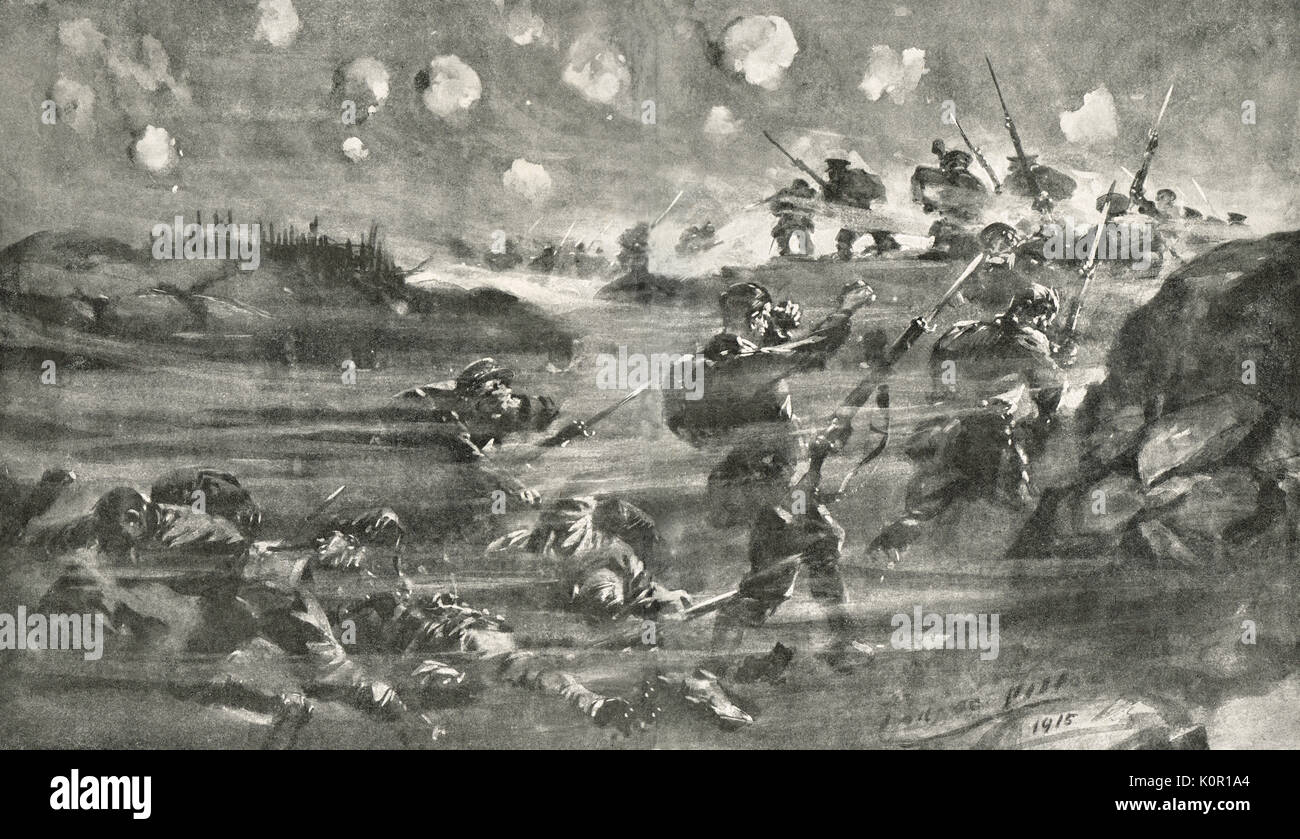 German use of Gas at Battle of Hill 60, May 1915, WW1 - Stock Image