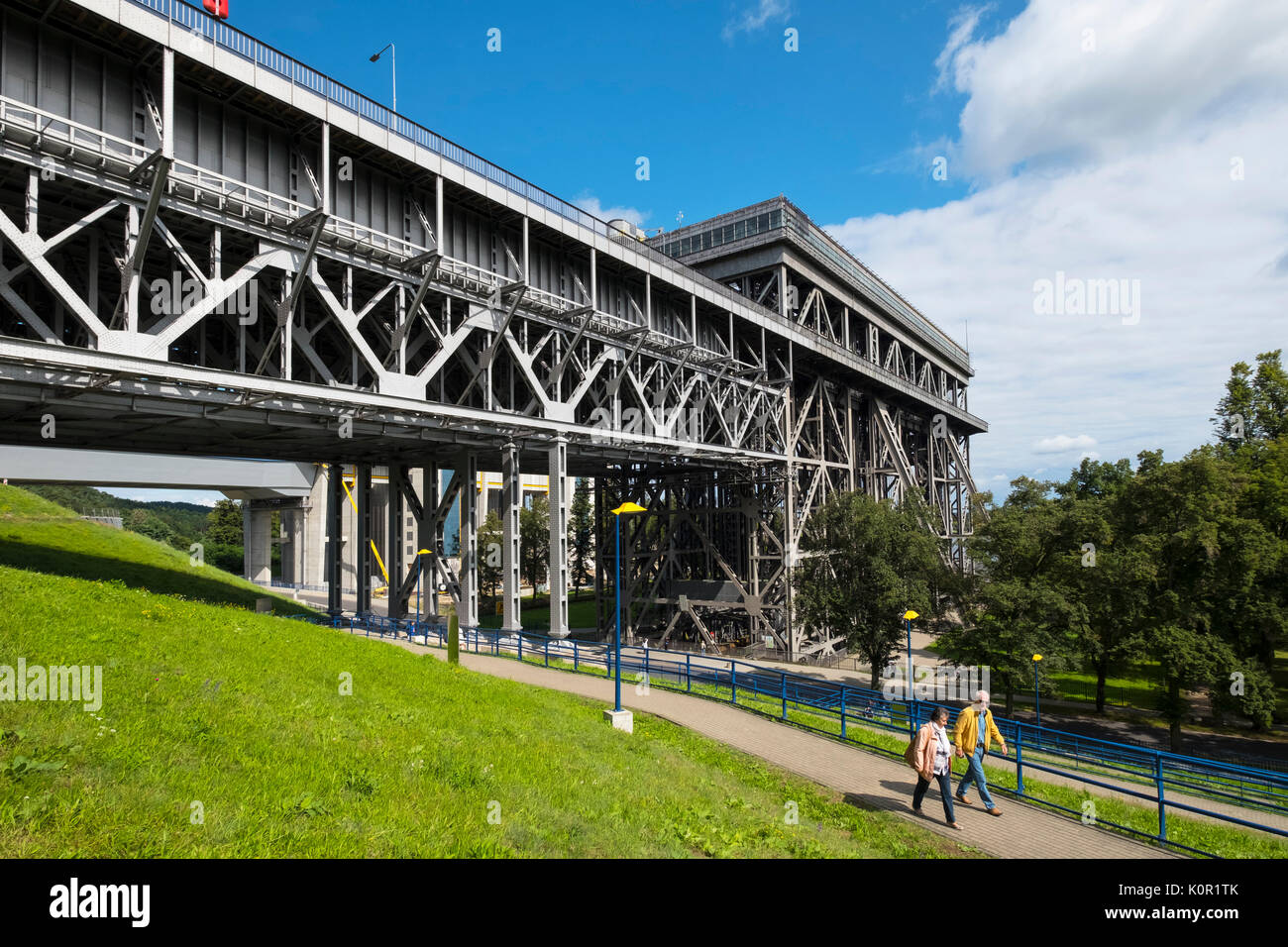 View of historic ship lift at Niederfinow in Brandenburg, Germany - Stock Image