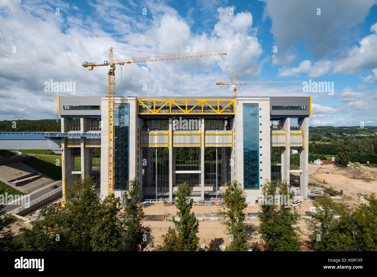 View of new ship lift under construction at Niederfinow in Brandenburg, Germany - Stock Image