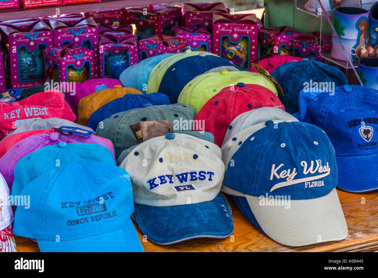 Baseball caps in Key West Florida - Stock Image