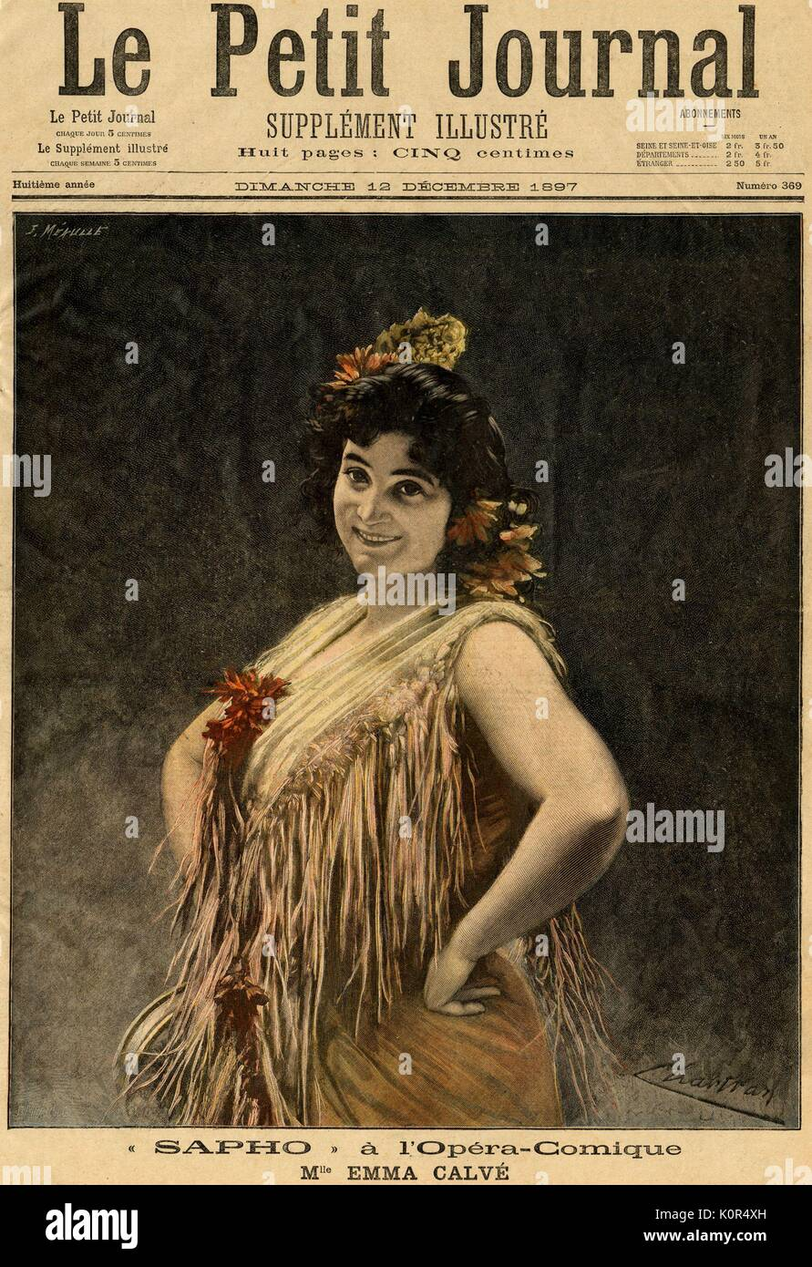 Emma Calvé in Massenet ' s Sapho. Her most famous role was as Carmen.  On the front page of Le Petit Journal, dated 12th December 1897. French soprano 1858-1942. - Stock Image