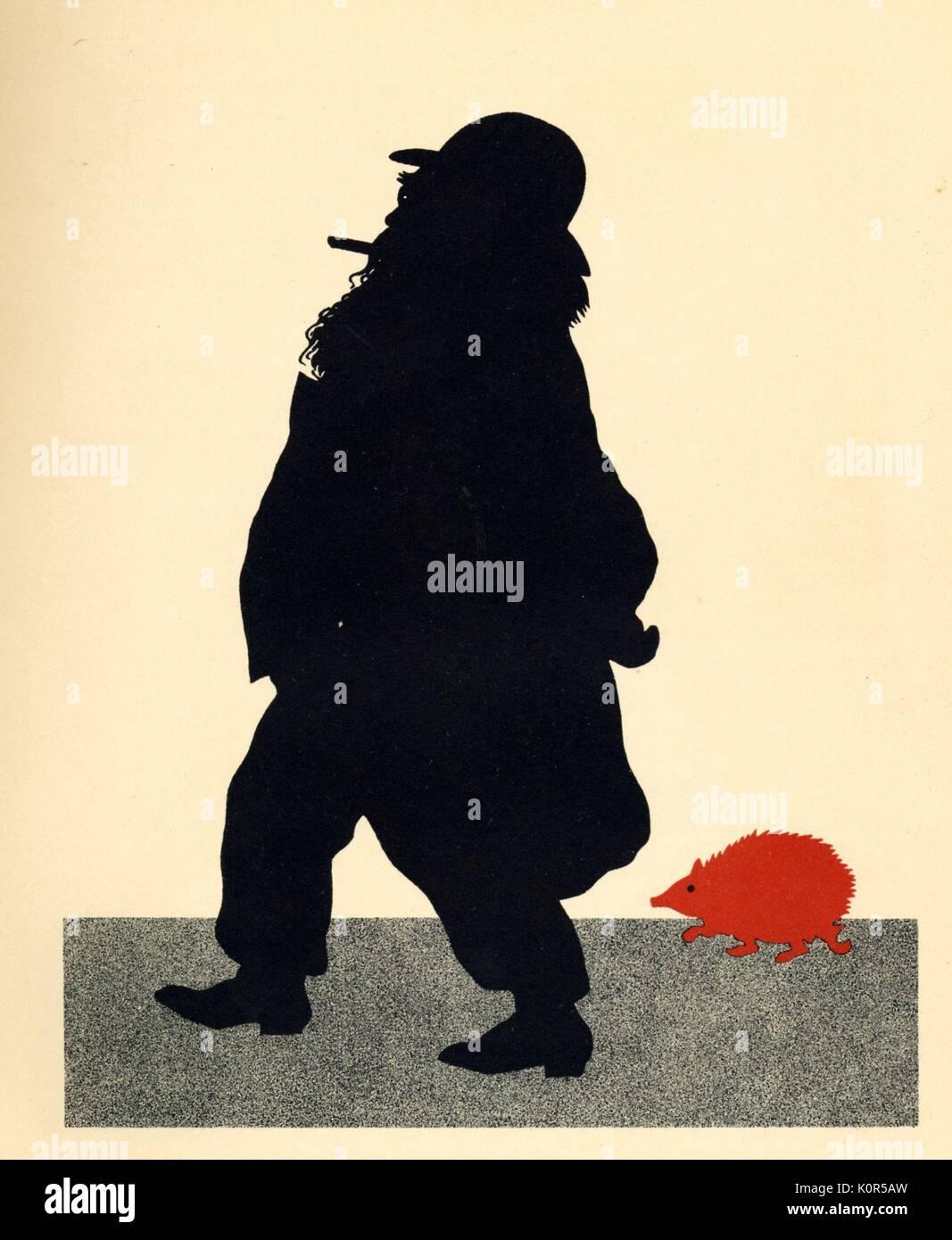 Johannes Brahms & the Red Hedgehog. On the way to the Red Hedgehog by Otto Bohler/ Boehler. 'Johannes Brahms auf dem Wege zum 'roten Igel'. German composer, 7 May 1833 - 3 April 1897. - Stock Image