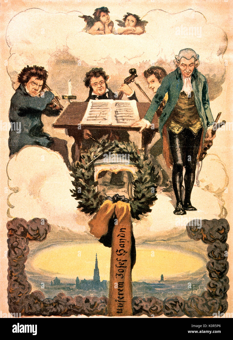 Haydn & Heavenly Quartet. Austrian composer, 31 March 1732 - 31 May 1809. 19th century fantasy of quartet in heaven with from l.to r. Ludwig van Beethoven, Franz Schubert, Wolfgan Amadeus Mozart and Josef Haydn - Stock Image