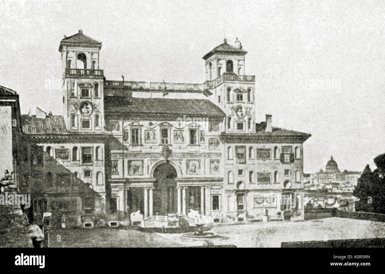 Villa Medici on Monte Pincio in Rome - where Hector Berlioz won music prize. French composer, 11 December 1803 - 8 March 1869 - Stock Image