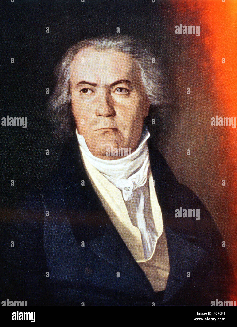 Beethoven, Ludwig van.  By Waldmuller F.G. in 1823. Portrait executed after one sitting.  B was'impatient with every passing minute,fuming & foaming around the room' Beethoven 1770-1827 German Composer. Ferdinand Georg Waldmüller 1793-1865 - Stock Image