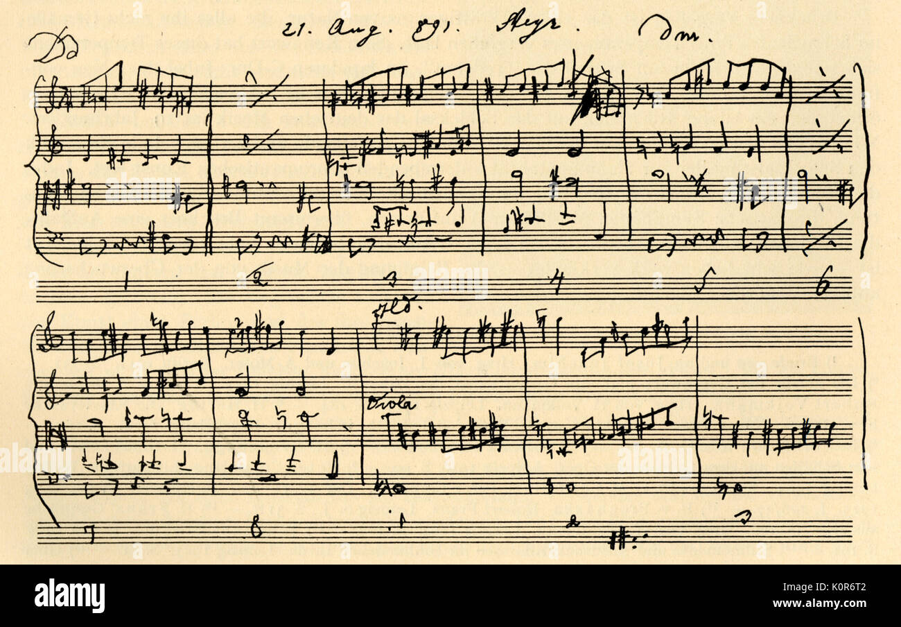 Bruckner, Anton  - draft of 9th Symphony in Bruckner's hand.  1824-18965. Austrian composer & organist - Stock Image