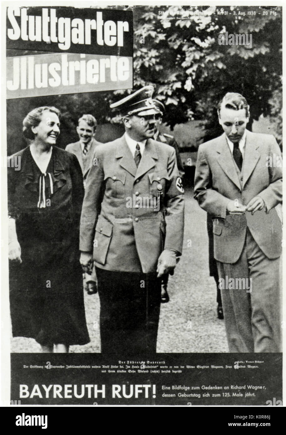 Winifred, Wieland and Wolfgang Wagner with Hitler at Bayreuth -on front cover of 'Stuttgarter Illustrierte',  3rd August 1938. Caption reads: ' Bayreuth calls'('Ruft').  Photo in commemoration of 125th anniversary of  Richard Wagner's birth. - Stock Image