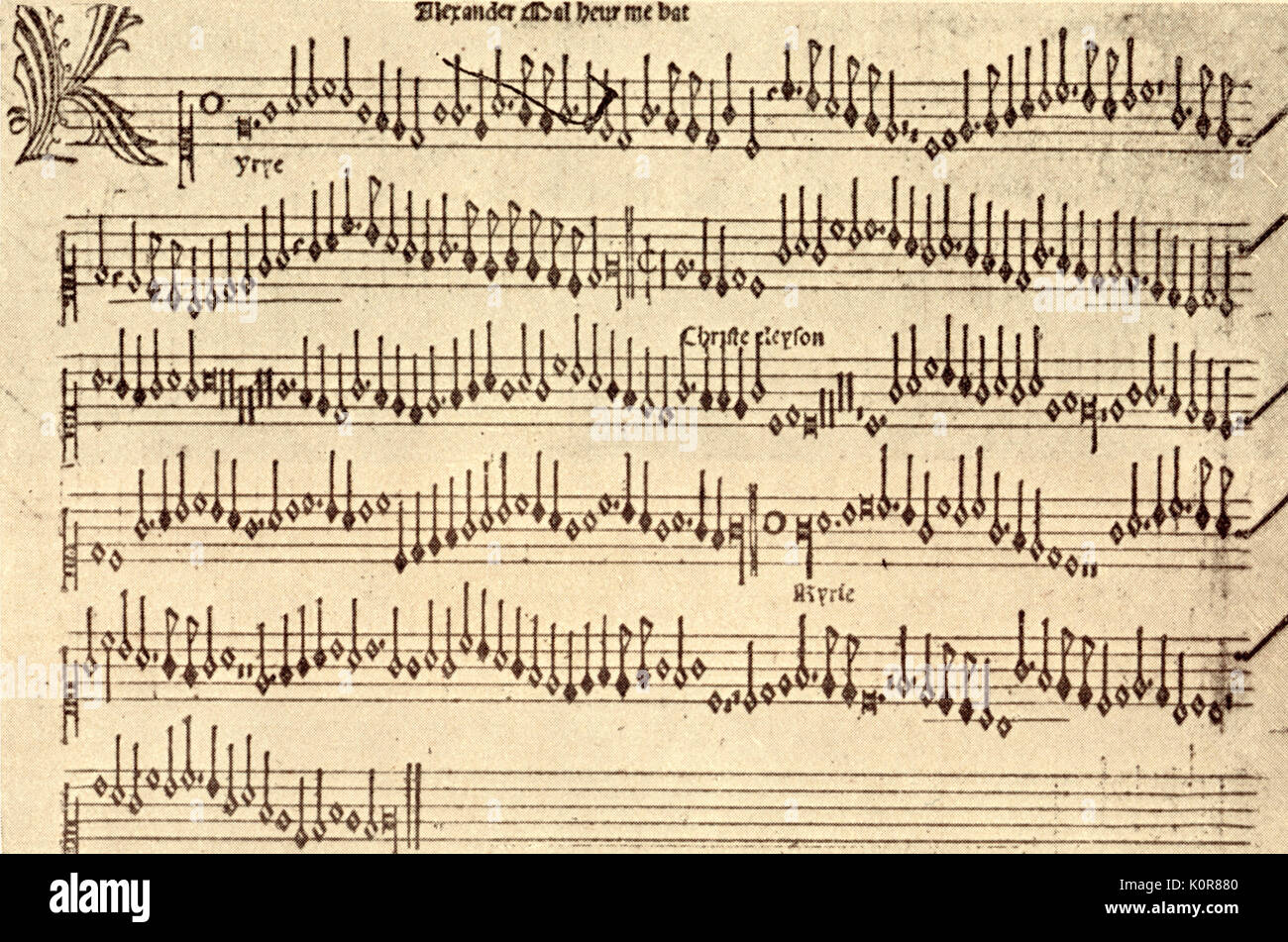 PETRUCCI, Ottaviano dei - Superius part-book of masses of Alexander Agricola (Malheur me bat, 1500). Italian music printer (1466-1539); He is the inventor of metal type for mensural music printing. - Stock Image