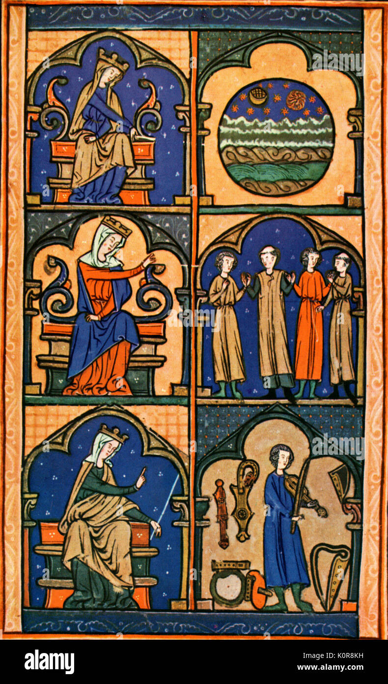 14th century illuminated manuscript illustrating 3 types of