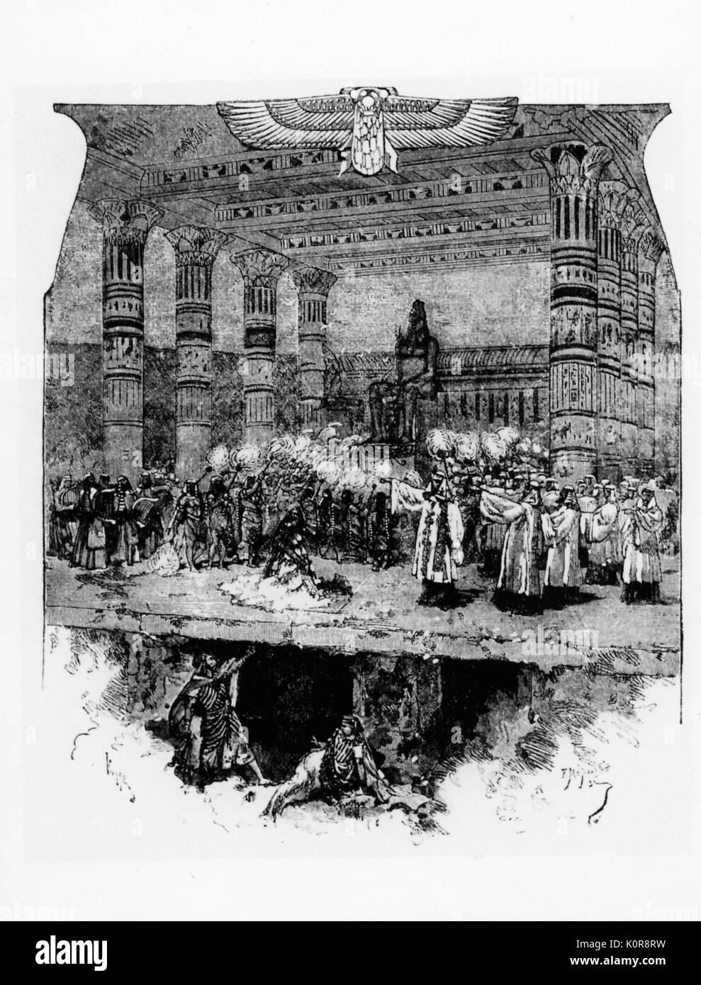 VERDI. Aida - Final scene, 1872 Sketch in 'Mondo Artistico' - Stock Image