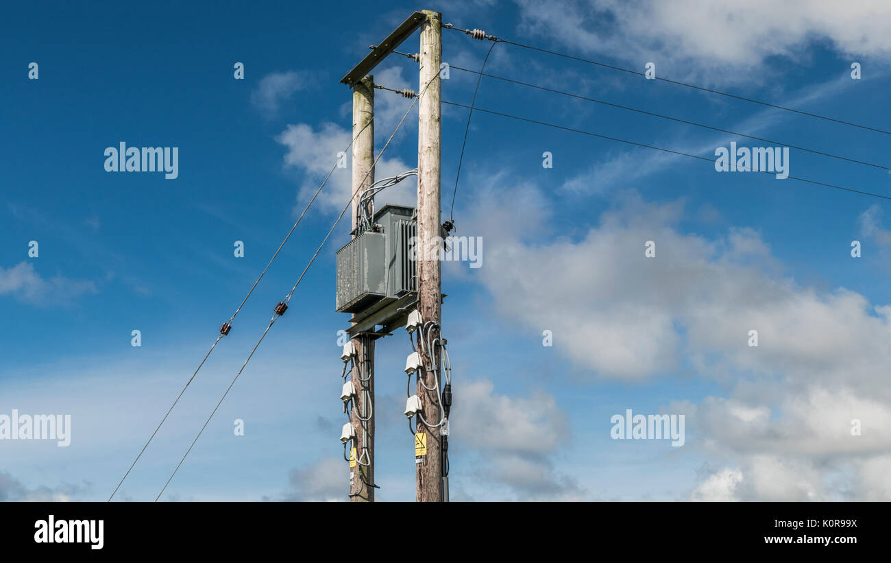 Wooden poles, by way of live electricity pylons (overhead cable supports), against a blue sky, Tintagel, Cornwall, - Stock Image