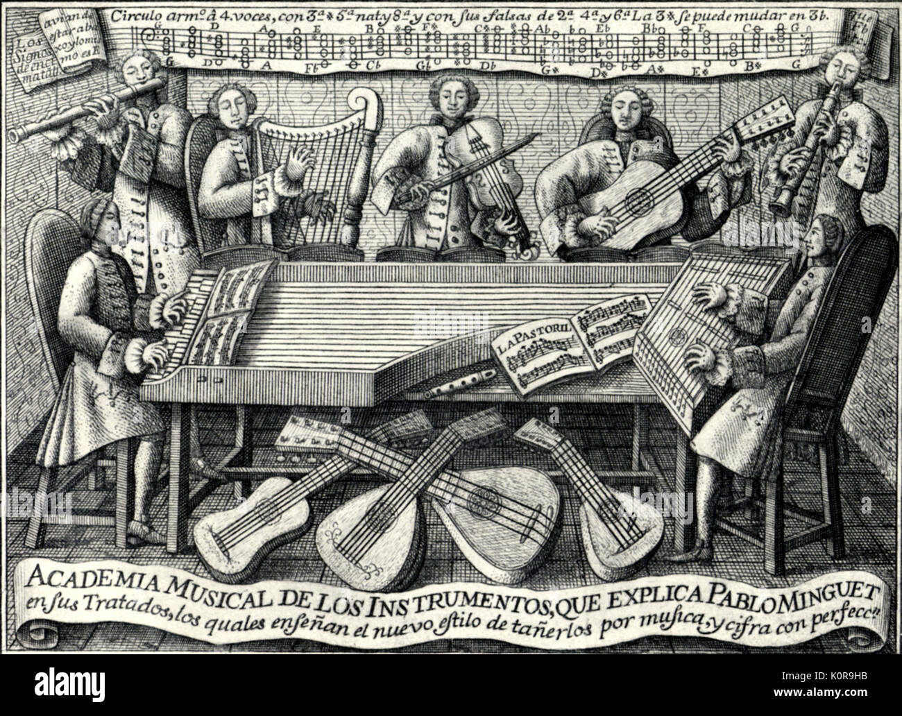 Spanish musical treatise cover, 1752. 'Rules and Advice for the Playing of All the Best Musical Instruments' - treatise Stock Photo