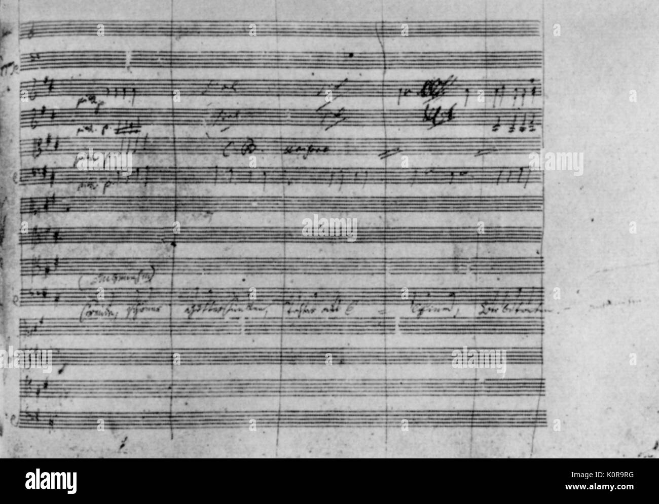 Ludwig van Beethoven 's 9th Symphony - Beginning of 'An die Freude' German composer, 17 December  1770- 26 March 1827 - Stock Image