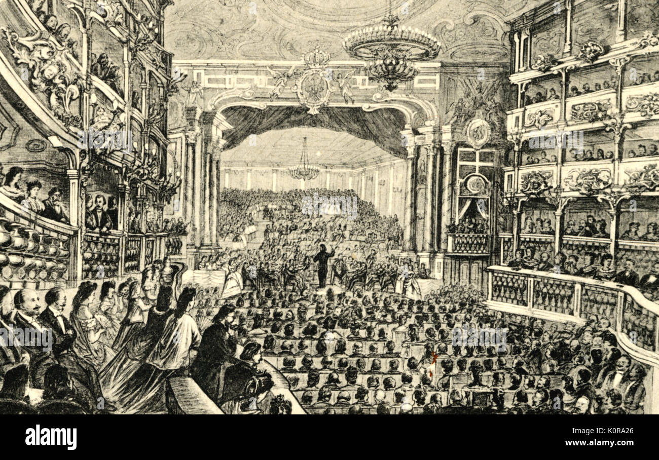WAGNER conducting Beethoven's 9th Symphony in the Opera House at Bayreuth on 22 May, 1872 German composer & author, 1813-1883 - Stock Image