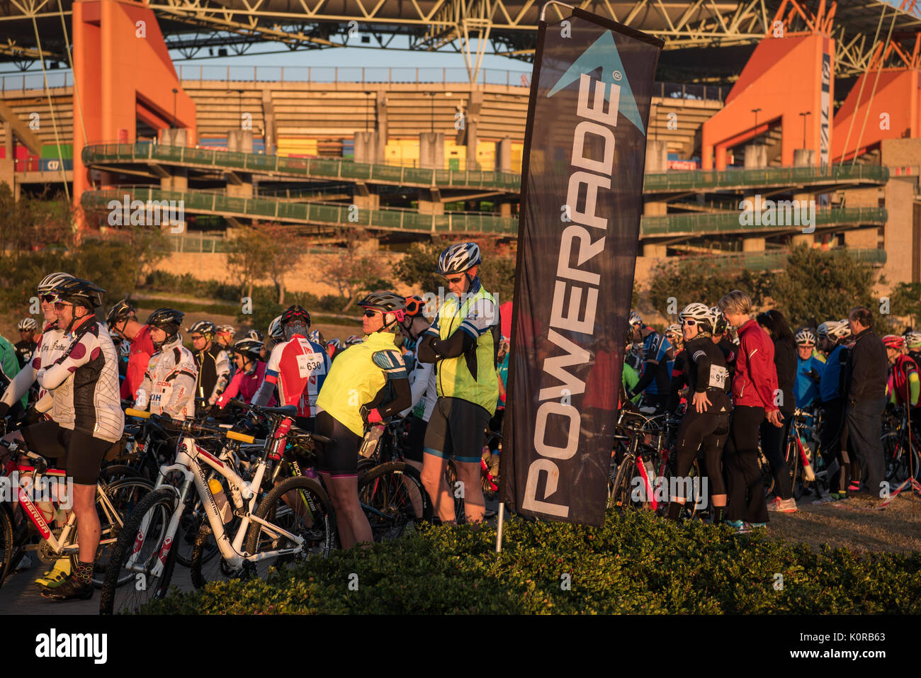 Cyclists at the start of the Jock Challenge outside the Mbombela stadium - Stock Image