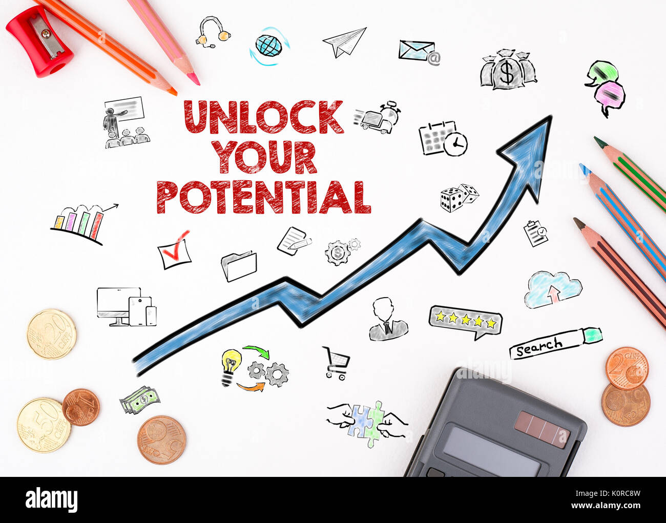 Unlock Your Potential concept. The sheet of paper with diagram - Stock Image