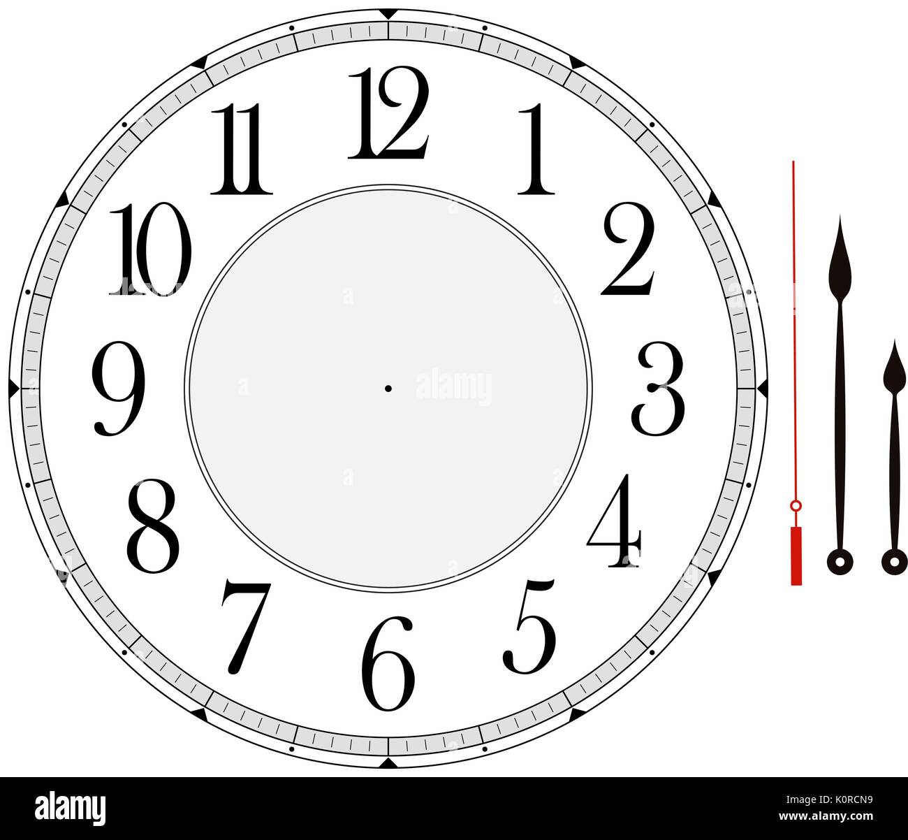 clock face template with hour, minute and second hands to make your ...