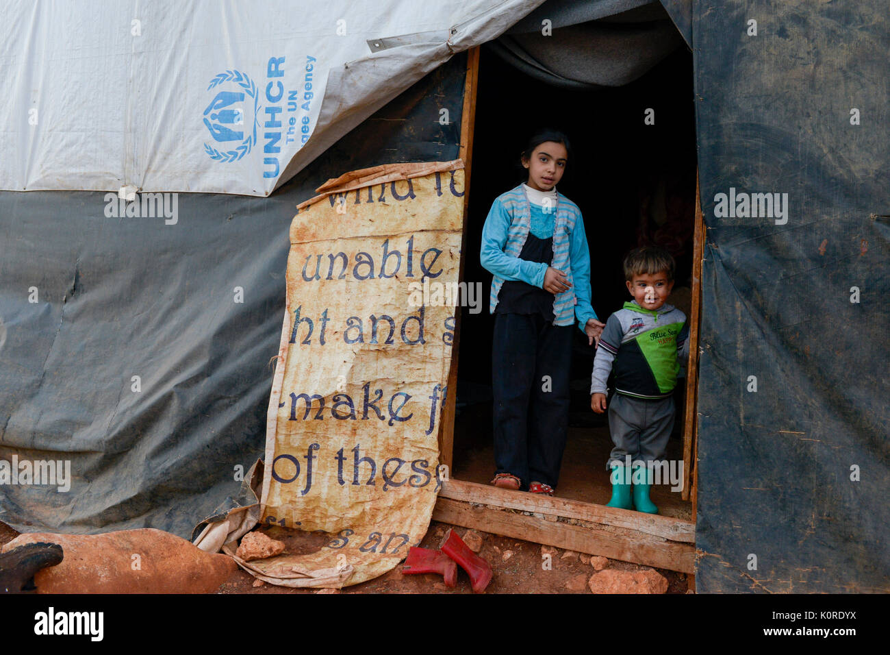 LEBANON Deir el Ahmad, a maronite christian village in Beqaa valley, syrian refugee camp / LIBANON Deir el Ahmad, ein christlich maronitisches Dorf in der Bekaa Ebene, Camp fuer syrische Fluechtlinge - Stock Image