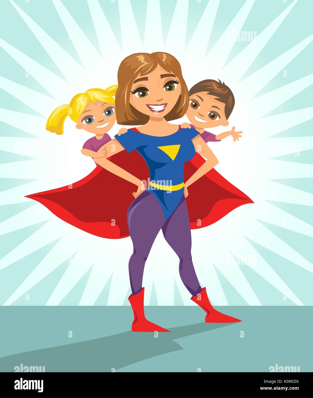 Super hero, super mom. Happy smiling super mother with her children. Vector illustration with isolated characters. - Stock Vector