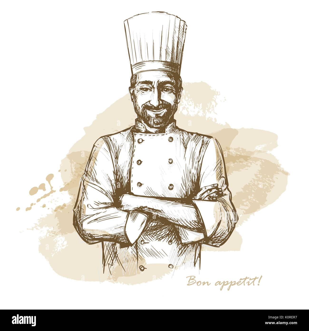 Smiling and happy chef. Vector hand drawn illustration on artistic  watercolor background. 00b4488aa487