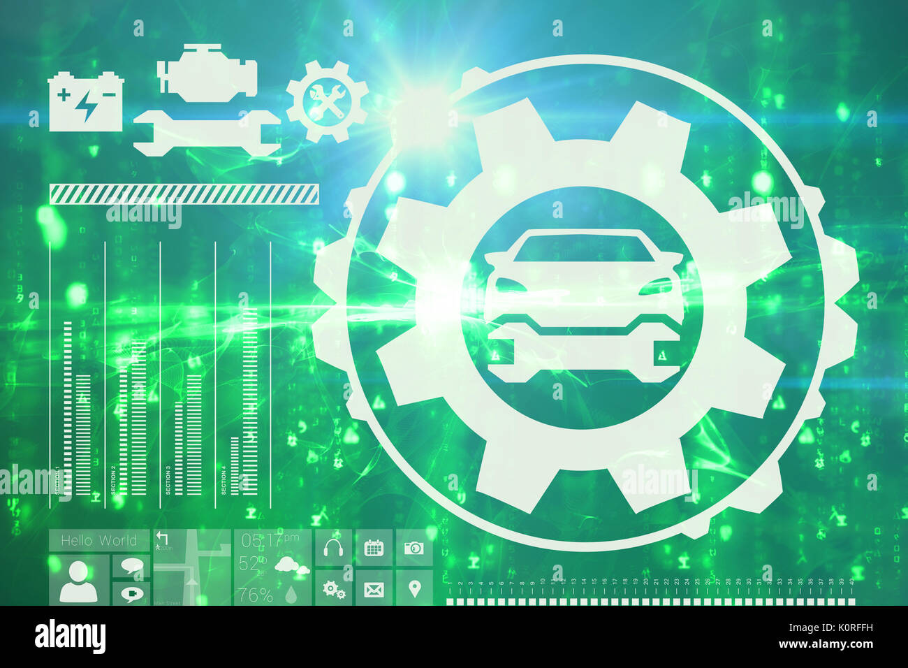 Digital image of tools and car against digitally generated image of abstract pattern Stock Photo