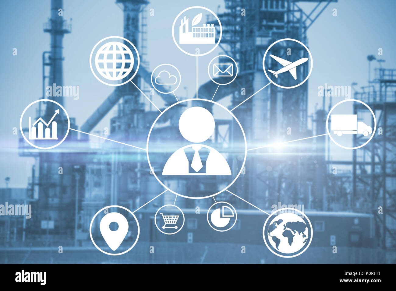 Composite image of human representation amidst various icons against image of factory - Stock Image