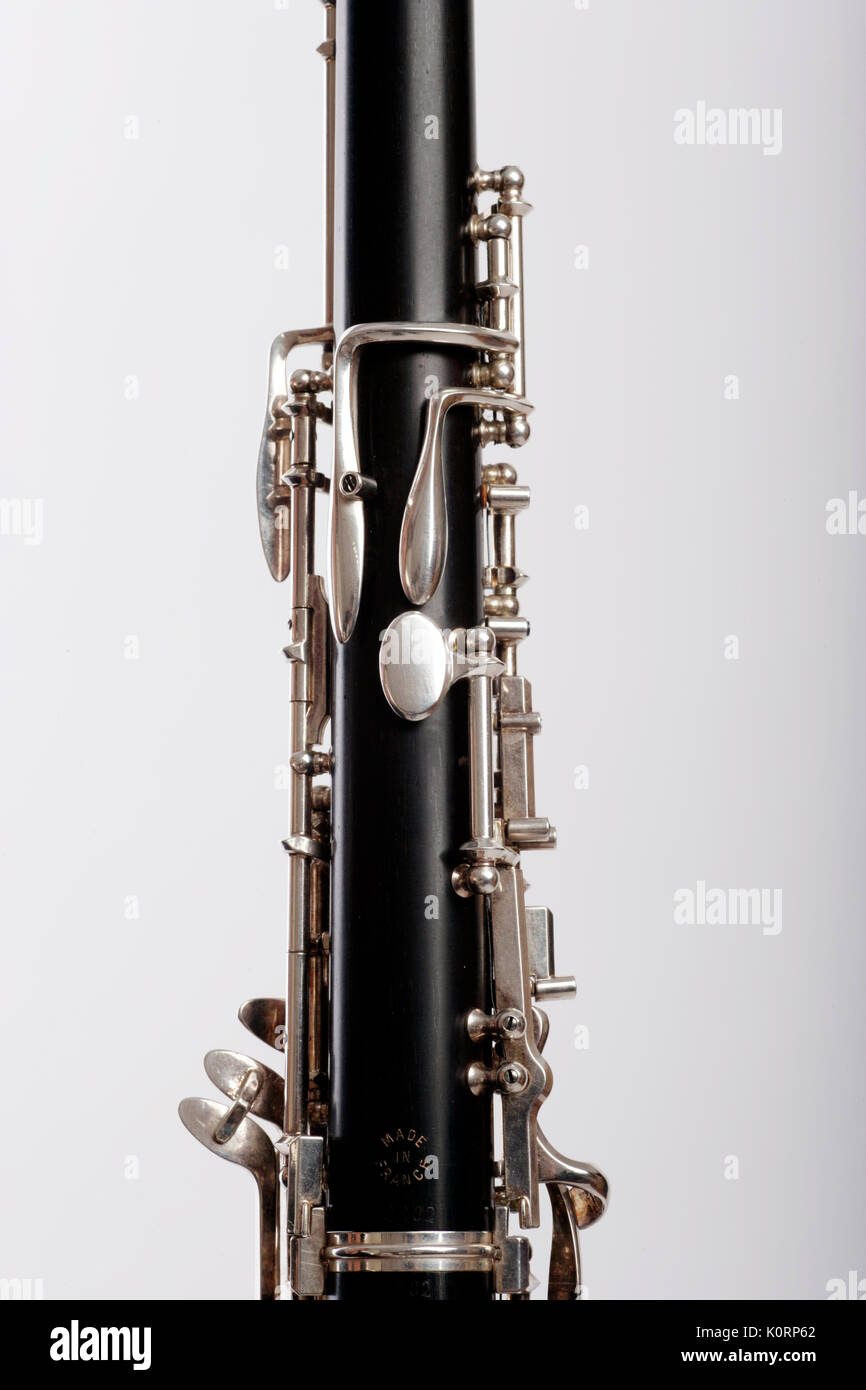 Oboe showing the octave keys on the back of the instrument, played by the thumb - Stock Image