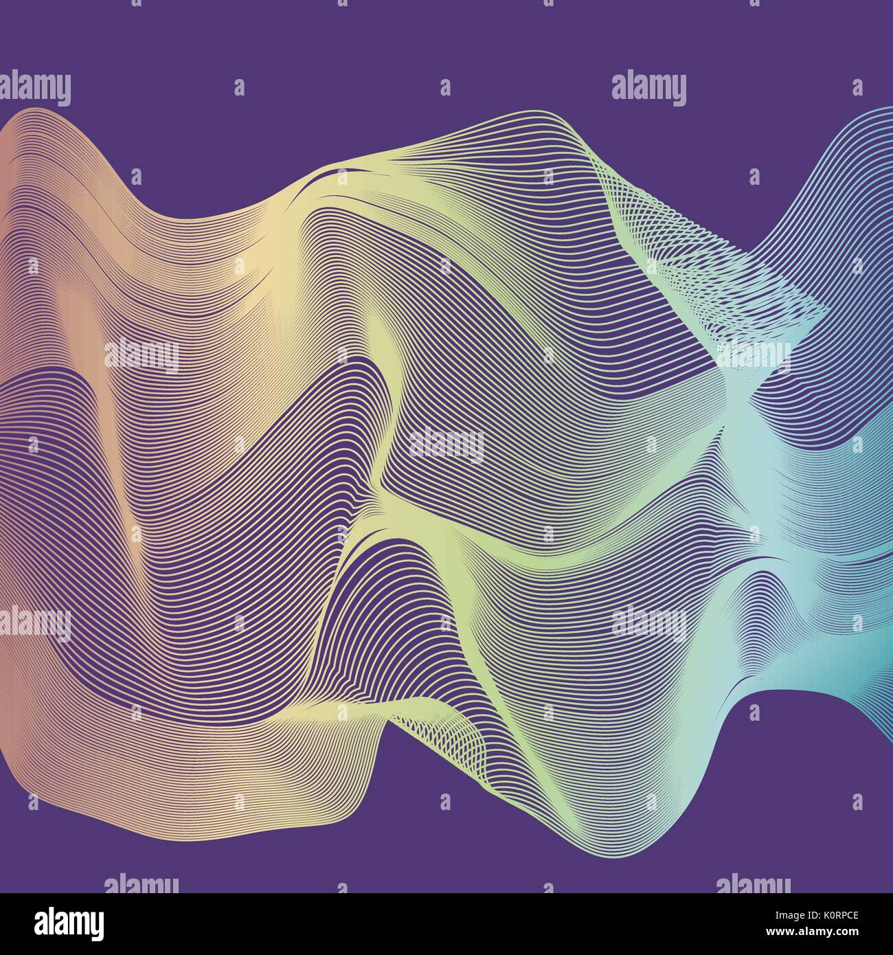 Abstract color wave design element. Colorful vector background. Blended gradient lines. Stock Vector